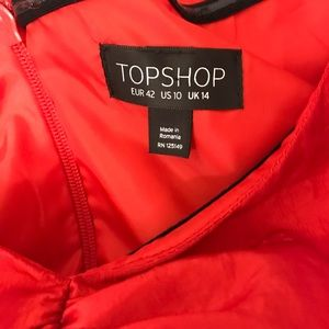 Topshop Dresses - Topshop Bright Red Puffed Sleeve Dress